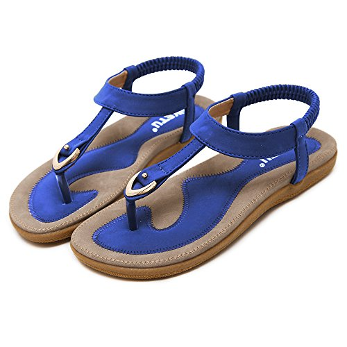 Blue LK Clip Elastic Comfortable Sandals Flat Beach Toe Women UwPqxT