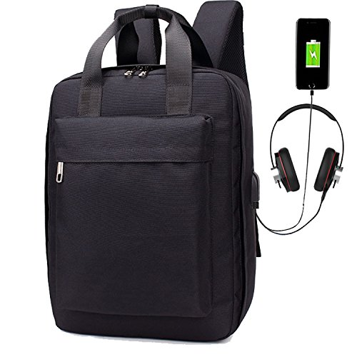 Suitcase Style Laptop Backpack, Business Travel Bag with USB Charging Port, Headphone Slot, Large Capacity Compartment, Water Resistant Computer bag Fits 15 15.6 Inch Notebook for Work/College - Black Canvas Zipped Compact Wallet