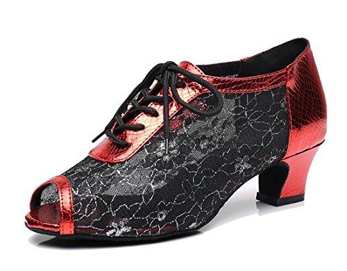 TDA QJ7018 Womens Lace-Up Mesh Salsa Tango Ballroom Latin Wedding Party Dance Shoes 5cm Black Red