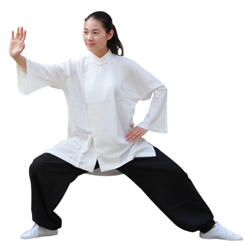 75c1d4249 Amazon.com : BlueSkyDeer Women's Japanese Cotton Meditation Clothing Tai  Chi Shirt White : Sports & Outdoors