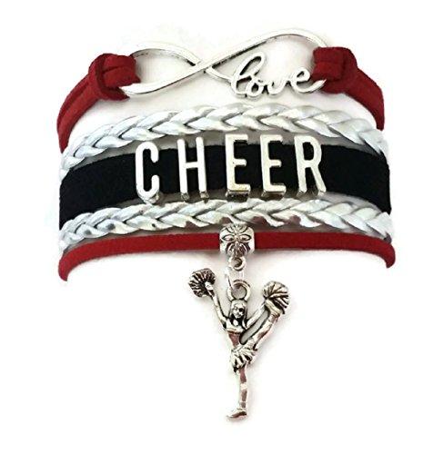 Kit's Kiss Cheer Bracelet, Cheerleading Bracelet, Love Infinity Bracelet, Sports Bracelet, Leather Bracelet (Red, Black and Silver)