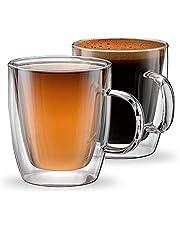 مجموعة من كوبين زجاجيين معزولين بطبقة مزدوجة للقهوة من للاسبرسو واللاتيه والكابتشينو، كوبين من الزجاج الحراري من مجموعة مودينا