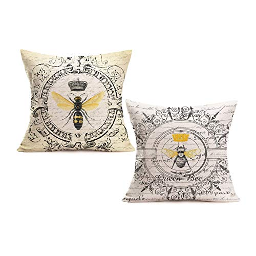 Royalours Throw Pillow Cover Cotton Linen Vintage French Queen Bee with Crown Decorative Pillow Case Home Sofa Cushion Cover Square 18x18 Inches Set of 2 Pillowslip (2pc Bee Queen) - French Decorative Pillow