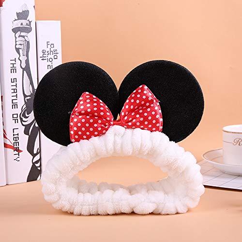 CFADAI Washing Hair Band,Hair Band Cute Bow Ears White Wash Face Hair Band Mouse Cartoon Headdress Wash Mask Yoga Headband Hair Band