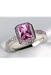 Gy Jewelry Princess 7mm Pink Sapphire White Gold Filled Women's Wedding Ring Engagement Gifts