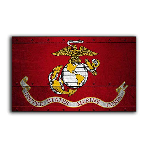 (Ruskin352 Wooden United States Marine Corp Wood Flag Sign Flags Wooden Military USMC Home Wall Decor Print Printed Sign Decor Sign Wall)