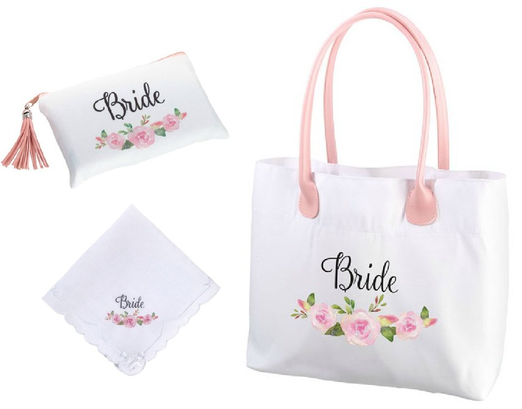 Roy Rose Gifts Lillian Rose Watercolors Bride Floral Tote, Survival Bag, and Hankerchief Bundled Set