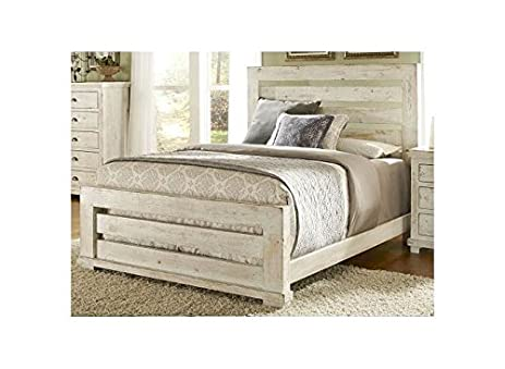 Amazon.com: Panel Bed in Distressed White Finish (King - 87 in. L x ...