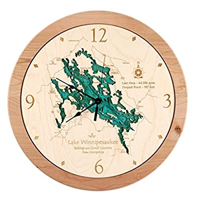 Kentucky Lake (Humphreys and Benton Area) in , TN - 3D Clock 17.5 IN - Laser carved wood nautical chart and topographic depth map.