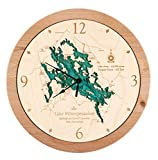 Lake Keowee in Oconee Pickens, SC - 3D Clock 17.5 IN - Laser carved wood nautical chart and topographic depth map.
