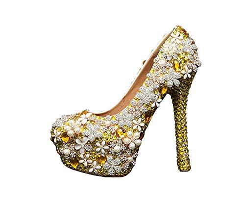 Gold BoShi Wedding Party Platform Pumps Heels Bridal Women's Evening R8RfwF