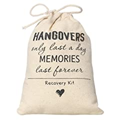 """Ling's moment """"Hangover"""" muslin favor bags  Product Specs Natural muslin favor bag with a drawstring closure and stamped with """"hangover"""" message Dimensions: Approx: 6"""" L x 4"""" W. Materials: Cotton,drawstring Package: Sold in sets of 10  Produc..."""