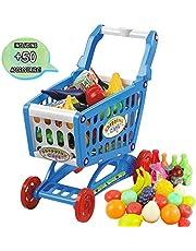 deAO Carrito de la Compra Infantil Incluye Variedad de 50 Productos de Mercado y Comestibles