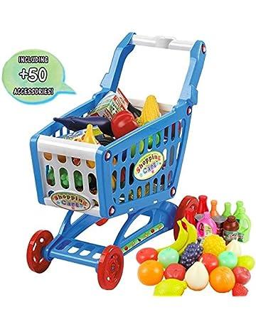 69138e3eb7 deAO Carrito de la Compra Infantil Incluye Variedad de 50 Productos de  Mercado y Comestibles (