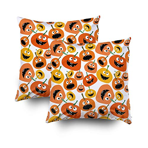 Sofa Pillows Covers,Pumpkin seamless pattern on white background Pumpkin seamless background Wallpaper Background for Halloween party yellow and orange pumpkin gourd squash melonCapsceoll 18x18 Set of -