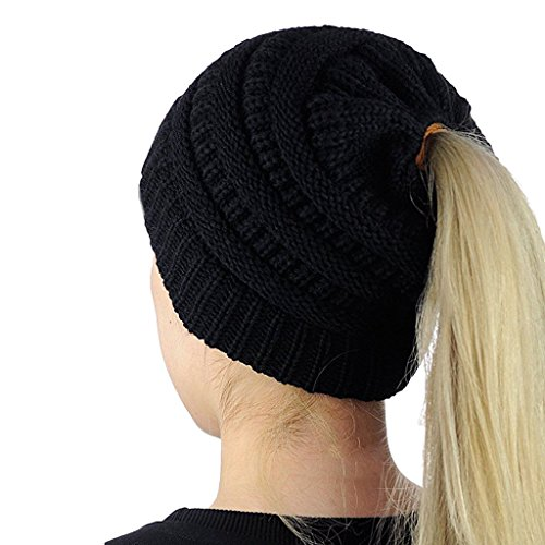 Mimgo Trendy Women Winter Knit Hat Beanie Tail Hat Ponytail Stretch High Bun Knit Hat (Black) - Stretch Winter Cap