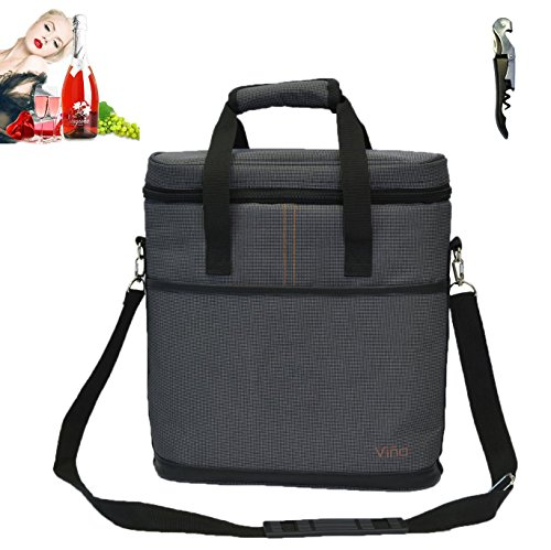 Vina 3 Bottle Wine Carrier Travel Insulated Champagne Tote Picnic Cooler Food Bag, Gray + Free Corkscrew Review