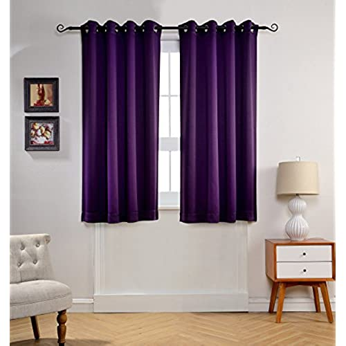 MYSKY HOME Solid Grommet Top Thermal Insulated Window Blackout Curtains For Bedroom 52 By 63 Inch Royal Purple 1 Panel