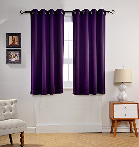 Mysky Home Solid Grommet Top Thermal Insulated Window Blackout Curtains For Bedroom 52 By 63