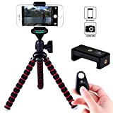 Moonor Flexible and Adjustable Octopus Style Tripod Stand Universal with Smartphone Holder Mount for iPhone, Cellphone, SLR DSLR Cameras and Remote