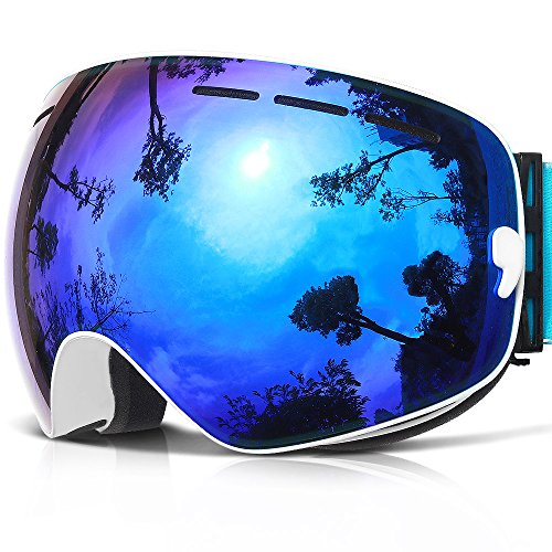 Ski Goggles,COPOZZ G1 Mens Womens Ski Snowboard Snowboarding Goggles - Over Glasses Double Lens Anti Fog Frameless,Cool REVO Mirror White Blue For Men Women Youth Snowmobile Skiing