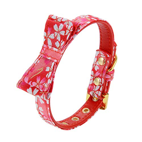 LOVPE Gold Flash Diamond Buckle Pet Canvas Floral Pattern Soft Cozy Printed Padded Adjustable Puppy Artistic Collar Handmade Bow Tie Crystal Elegant Collar Kitten Chihuahua Teddy (Red Pattern)