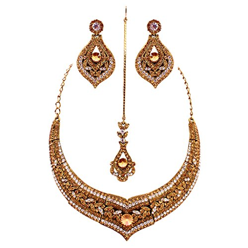 Jewelshingar Antique Gold Plated Cubic Zirconia Stones Necklace set For Girls ( 81014-nz ) by Jewelshingar