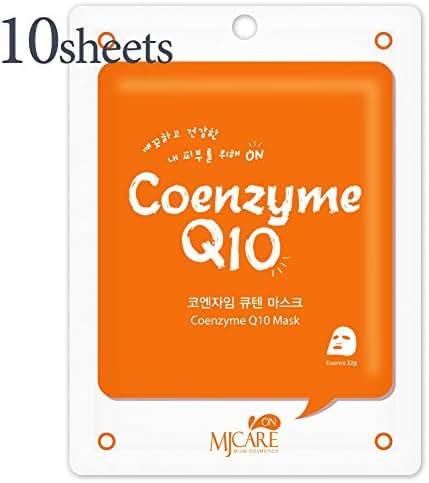 Pack of 10, The Elixir MJ Care On Korea Essence Full Face Facial Mask Sheet - Coenzyme Q10, Korean Beauty Cosmetic