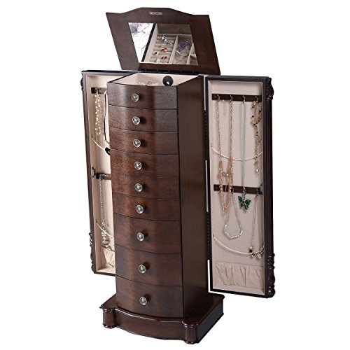 Giantex Wood Jewelry Cabinet Armoire Box Storage Chest Stand