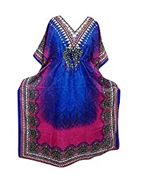 Womens Caftan Maxi Dress Blue Pink Printed Boho Kaftan Cover Up xxxl