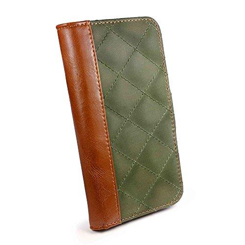 """Tuff-Luv Vintage Gewachste Jacke """"Quilted"""" Wallet-Art-Fall-Abdeckung für Apple iPhone 6 (inkl Displayschutz) - Grün"""