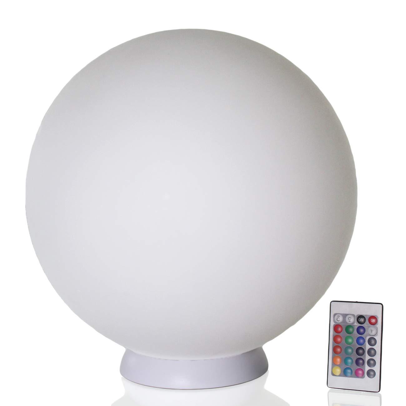 Arnusa Oasis Lights Design Leuchten LED Tischleuchte Nachttischlampe Kugellampe mit Fernbedienung (Leuchtkugel (D 35cm))