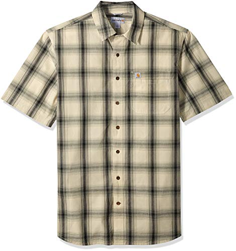 Carhartt Men's Big and Tall Big & Tall Essential Plaid Open Collar Short Sleeve Shirt, 121-Oyster White, 4X-Large