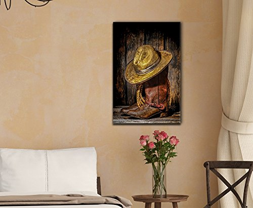 Retro Style American West Rodeo Cowboy Hat ATOP Worn and Muddy Leather Working Rancher Boots