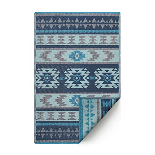 Fab Habitat Reversible Rugs | Indoor or Outdoor Use | Stain Resistant, Easy to Clean Weather Resistant Floor Mats | Cusco - Blue, 6