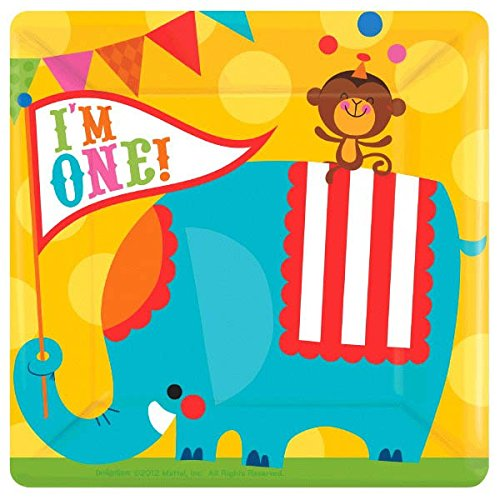 amscan Circus 1st Birthday Party Square Dinner Plates, Multicolor, 10
