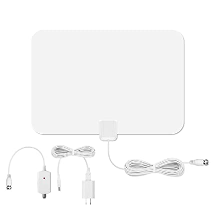 50 Miles Range Indoor TV Antenna with USB Power Supply and 16ft coaxial cable, Supports
