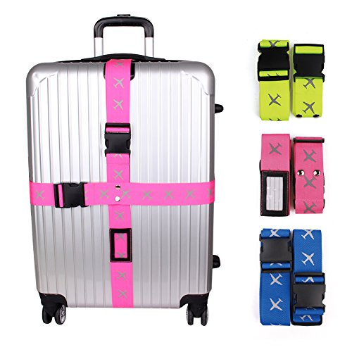 Heavy Superior Strength Extra Long Cross Luggage Strap Suitcase Travel Belt Tags