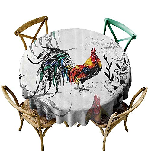 Jbgzzm Dust-Proof Round Tablecloth Gallos Decor Collection Roosters Crowing Sound Silhouettes and Flowers Insect Butterfly Standing Plumage Art and Durable D63 Yellow Teal Blue ()