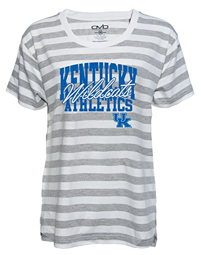 Ncaa Kentucky Wildcats Wildcat - NCAA Kentucky Wildcats Women's Striped Game Day T-shirt, Large, Grey/White