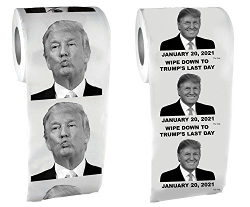 Trump Toilet Paper (2 Pack) Trump Last Day in Office and Trump Face-Donald Trump Toilet Paper-Funny Novelty President Toilet Paper- Printed on Every -