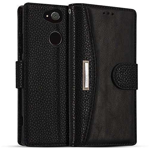 Sony Xperia XA2 Ultra Case, IDOOLS Leather Phone Case with Card Slot, Flip Cover Wallet, Mobile Phone Stand - Black
