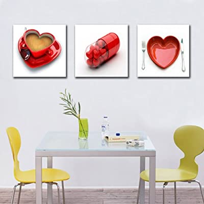 RED HEART ON THE PLATE ABSTRACT WALL ART PICTURE CANVAS PRINT READY TO HANG