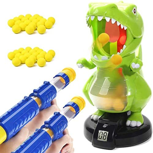 Dinosaur Shooting Toys for Kids, Target Shooter Battle Toy with LCD Score Record and 2 Air Pump Guns and 48 Soft Foam Ball Bullets, Interactive Electronic Games Toys Gift for Boys and Girls (Green)