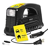 Air Compressor Car Pump - Portable AC/DC 90psi Tire Inflator with Digital Display and LED Flashlight – 12v Cigarette Lighter Cord and 110v Home Cord - 30 Liters/Min – by Kensun