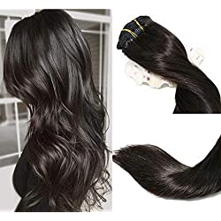 Clip In Hair Extensions Human Hair New Version Thickened Double Weft Brazilian Hair 120g 8pcs Per Set Remy Hair Natural Black Full Head Silky Straight 100% Human Hair Clip In Extensions(16 Inch #1B)