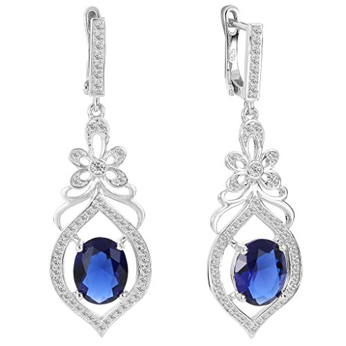 EVER FAITH 925 Sterling Silver Cubic Zirconia Chandelier Flower Dangle Earrings Blue Sapphire Color