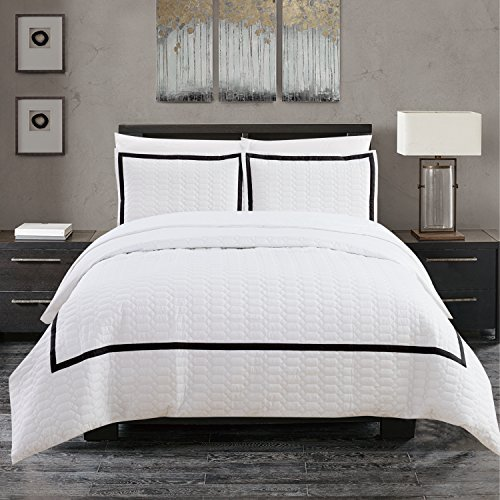 Chic Home Faige 3 Piece Duvet Cover Set Hotel Collection Two Tone Banded Print Zipper Closure Bedding - Decorative Pillow Shams Included King Black