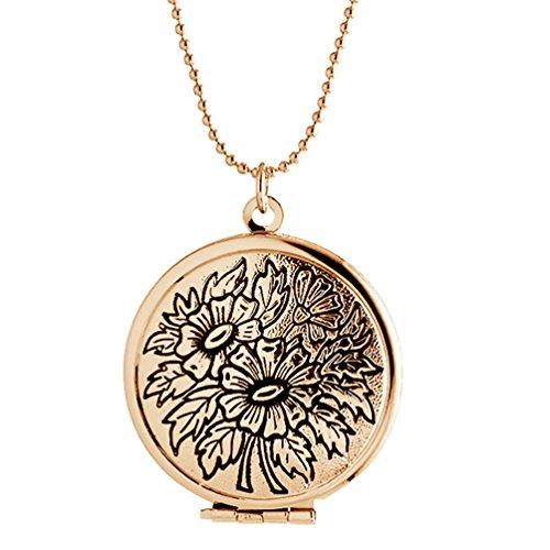 Round Flower Locket - Sojewe Engraved Flower Round Locket Necklace Charm Pendant for Women Picture Photo Golden