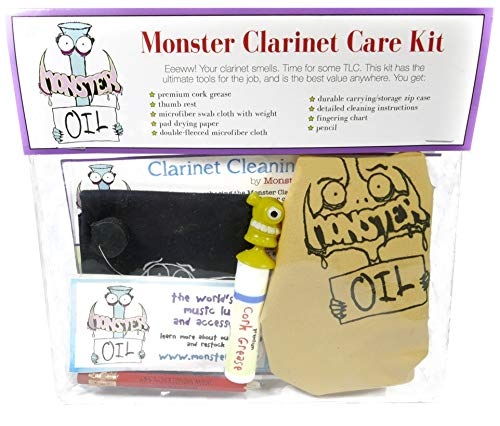 Monster Clarinet Care and Cleaning Kit | Wood or Composite, Cork Grease, and More! Everything You Need to Take Care of Your Clarinet ()